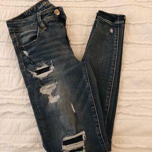 American Eagle frayed bottom skinny jean